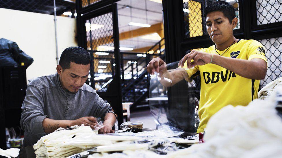 Prisoners making clothes at San Pedro de Lurigancho prison
