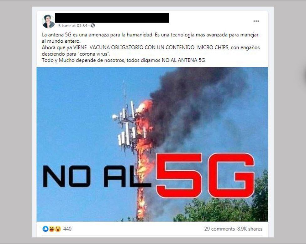 """Príspevok na Facebooku v španielčine, ktorý hovorí """"Nie 5G"""""""