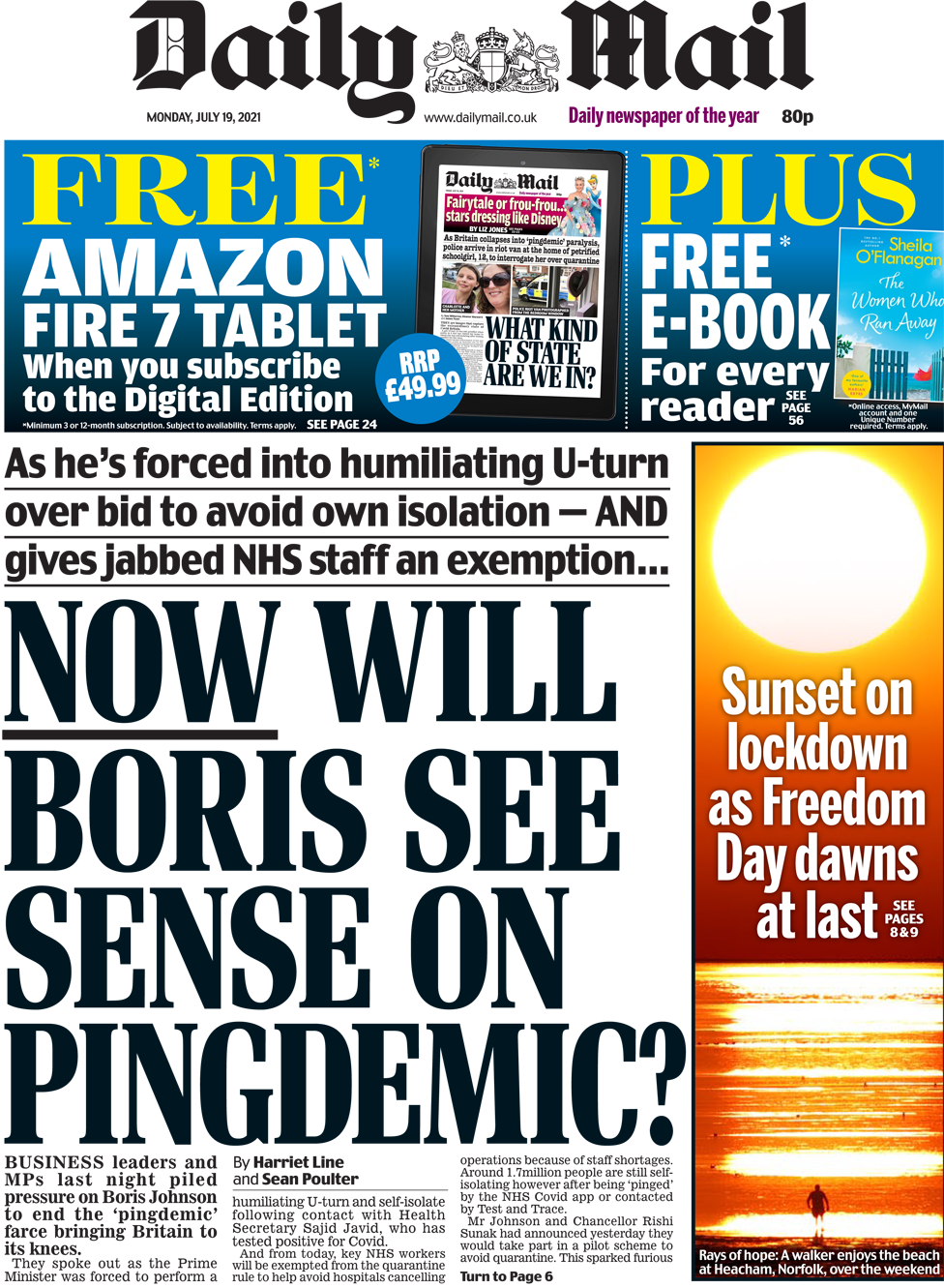 The Daily Mail front page 19 July 2021