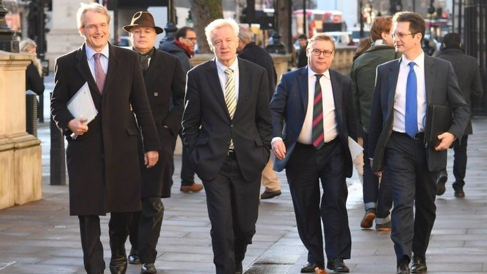 MP Owen Patterson, MP Iain Duncan Smith, former Brexit Secretary David Davis, MP Mark Francois and MP Steve Baker arriving at the cabinet office