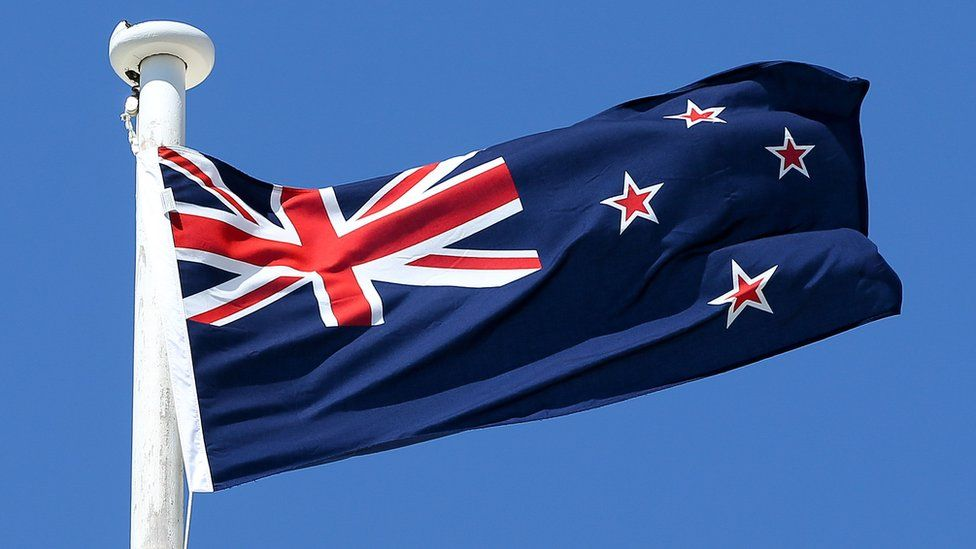 The current New Zealand flag flies on top of the Wellington Town Hall on 12 October 2015 in Wellington, New Zealand
