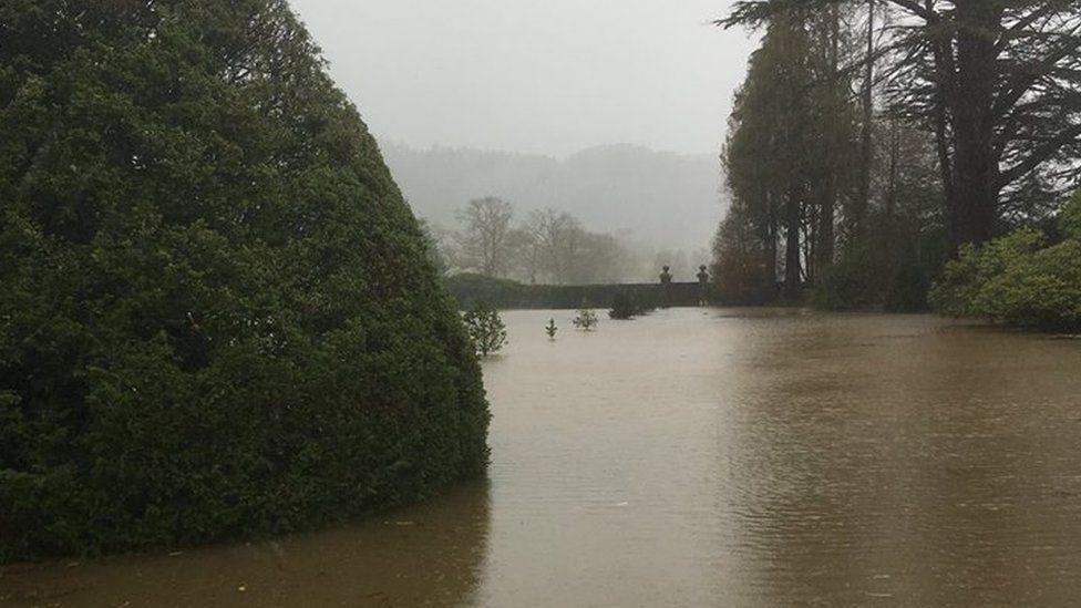 Flooded gardens at Gwydir Castle
