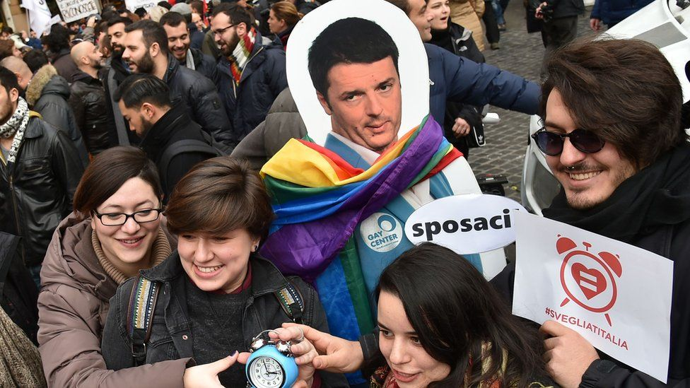 Italian gay rights campaigners, 23 Jan 16