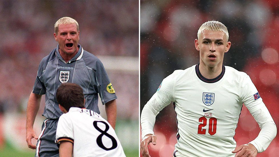 Paul Gascoigne and Phil Foden with dyed blond hair