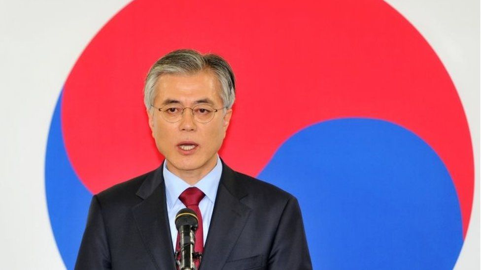 South Korea's Moon Jae-In of the opposition Democratic United Party speaking during a press conference