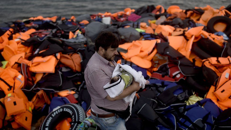 New arrival on Greek island of Lesbos (7 October)