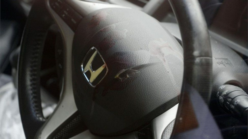 Blood on the steering wheel of a car allegedly driven by the suspect to the police station, Sagamihara, Japan (26 July 2016)