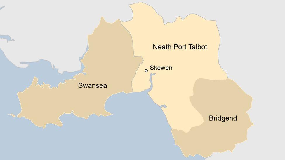 Map showing Skewen