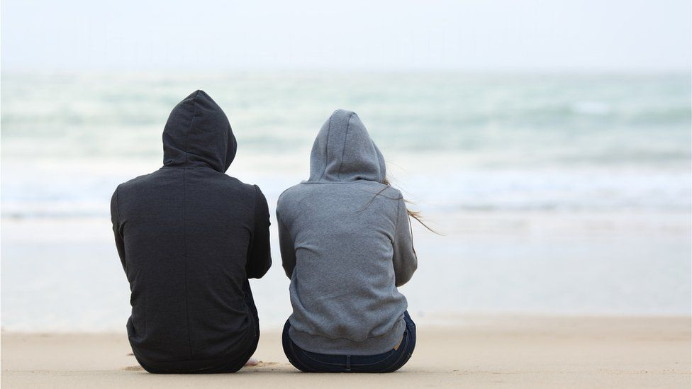 stock image of two teenagers