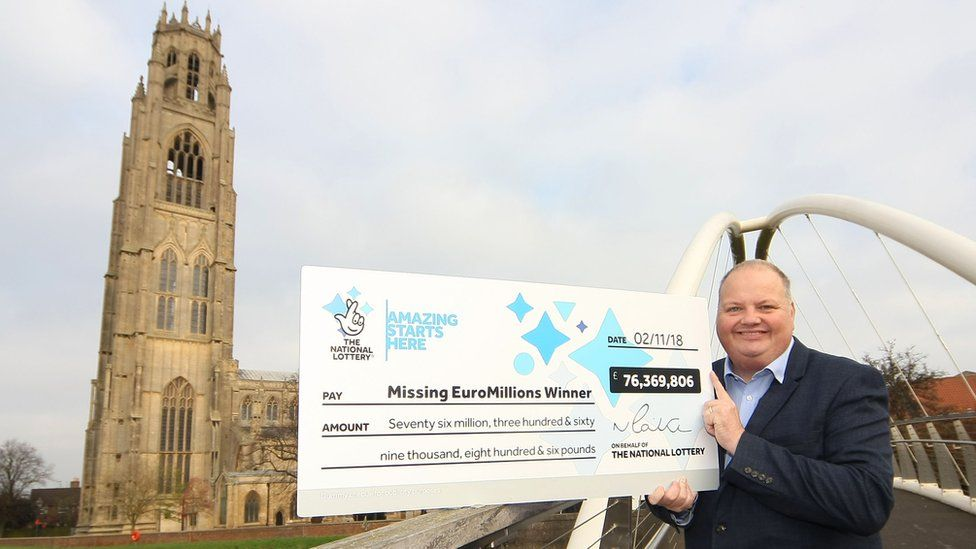 Lottery cheque at Boston Stump, Lincolnshire