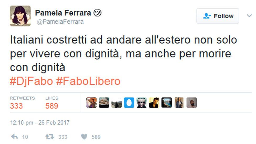 Tweet by Pamela Ferrara