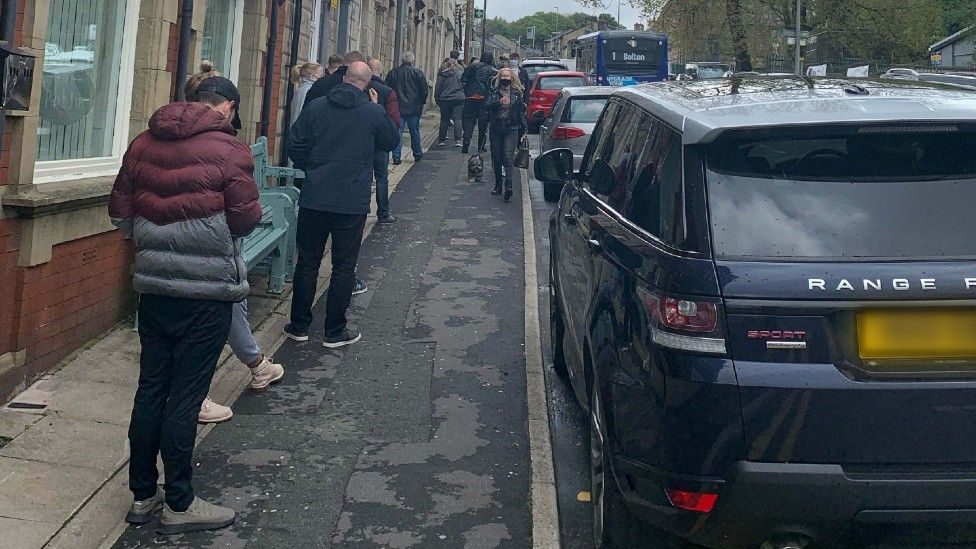 Queue for vaccine in Blackburn