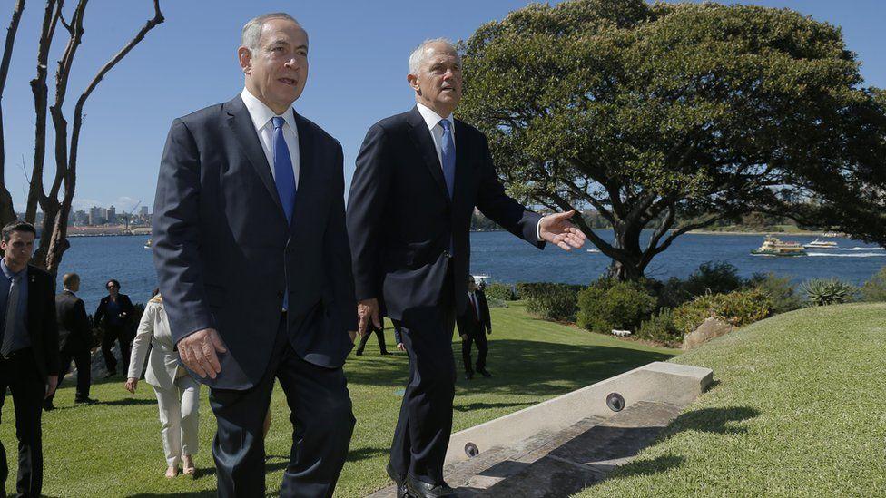 Mr Netanyahu and Mr Turnbull walk outside Kirribilli House, the official Sydney residence of Australian prime ministers