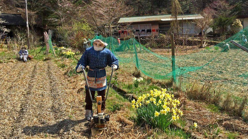 Путешествуя по сельской местности на японском острове Сикоку, писатель Дон Джордж заехал в деревушку, населенную пугалами