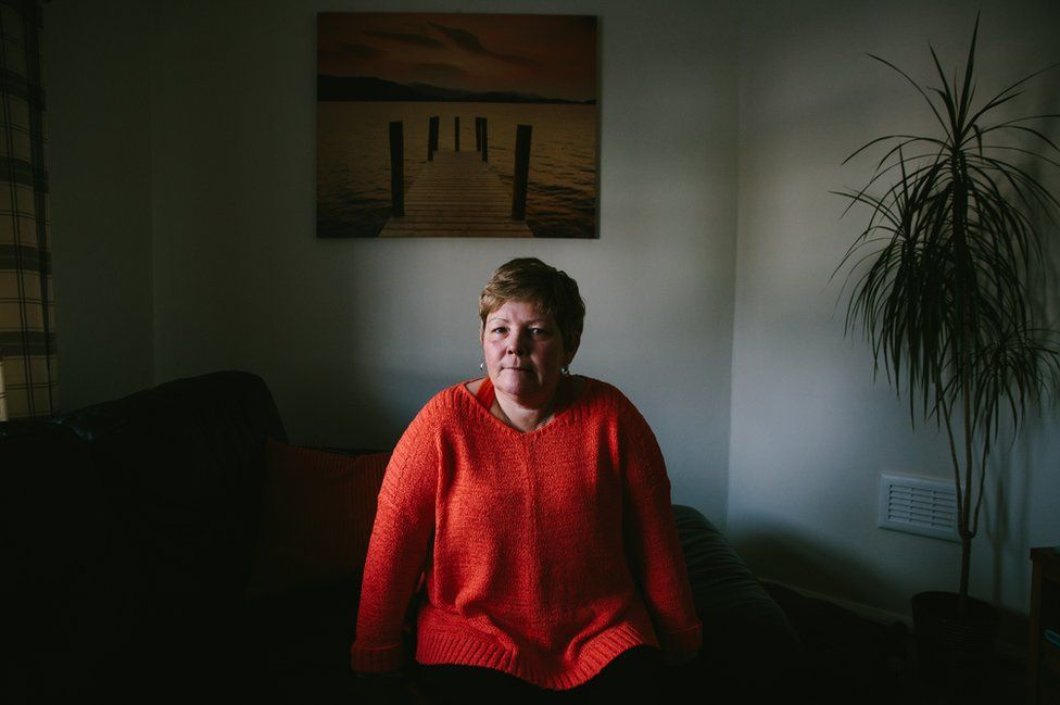 Gill Hedley sitting at home in Newcastle
