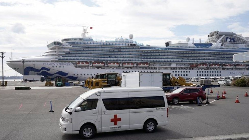 Infected passengers are taken off the ship to be treated in hospitals
