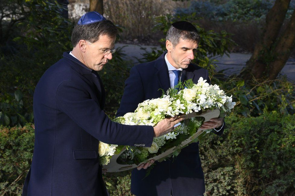 Dutch Prime Minister Mark Rutte and State Secretary Paul Blokhuis lay a wreath