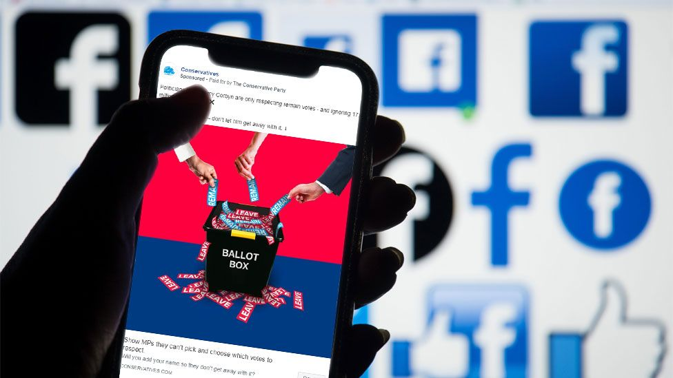 Mock-up of Facebook ad on a smartphone