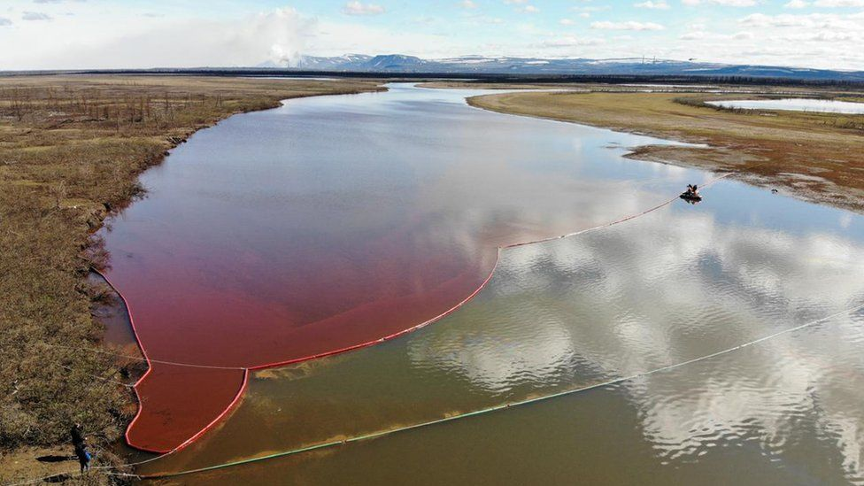 Image shows a large diesel spill in the Ambarnaya River outside Norilsk in Russia