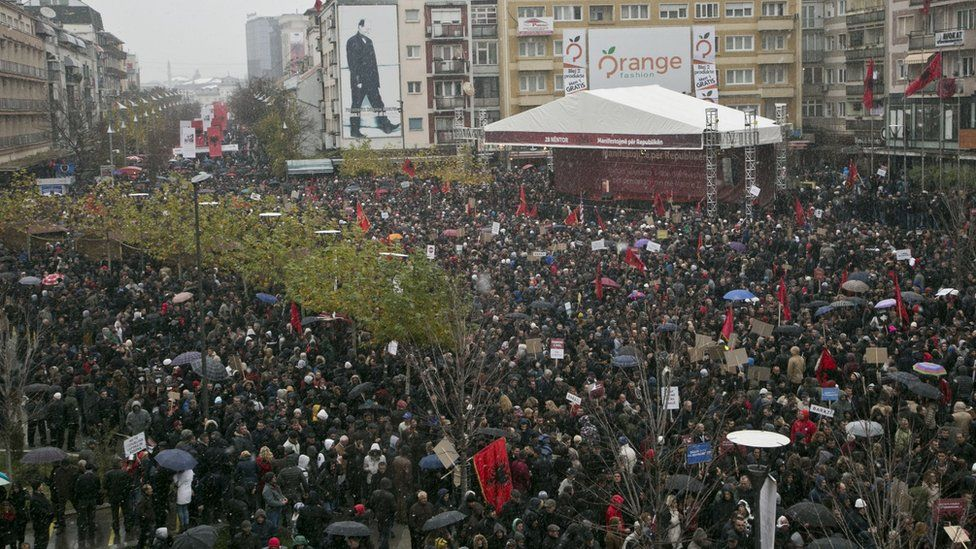 Massive crowds gathered in a peaceful protest called by Kosovo's opposition