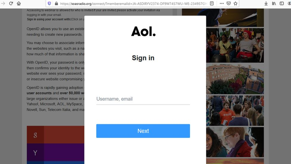 The compromised website invited sign-ins.