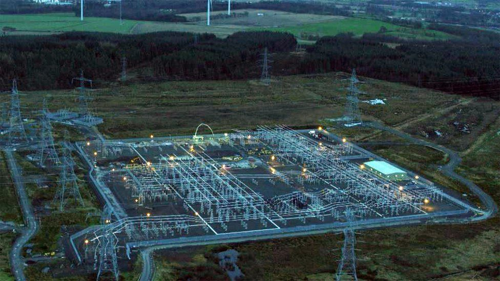The Denny substation near Falkirk is the destination for the power lines
