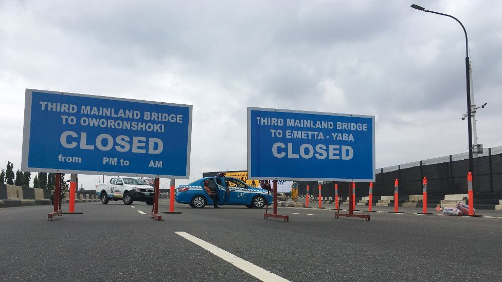 Closed signs on the Third Mainland Bridge in Lagos, Nigeria