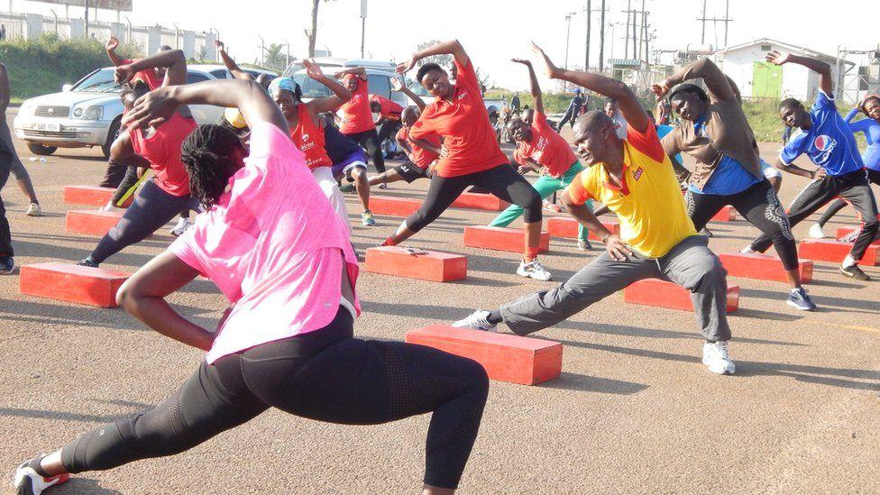 Fitness class in Kampala