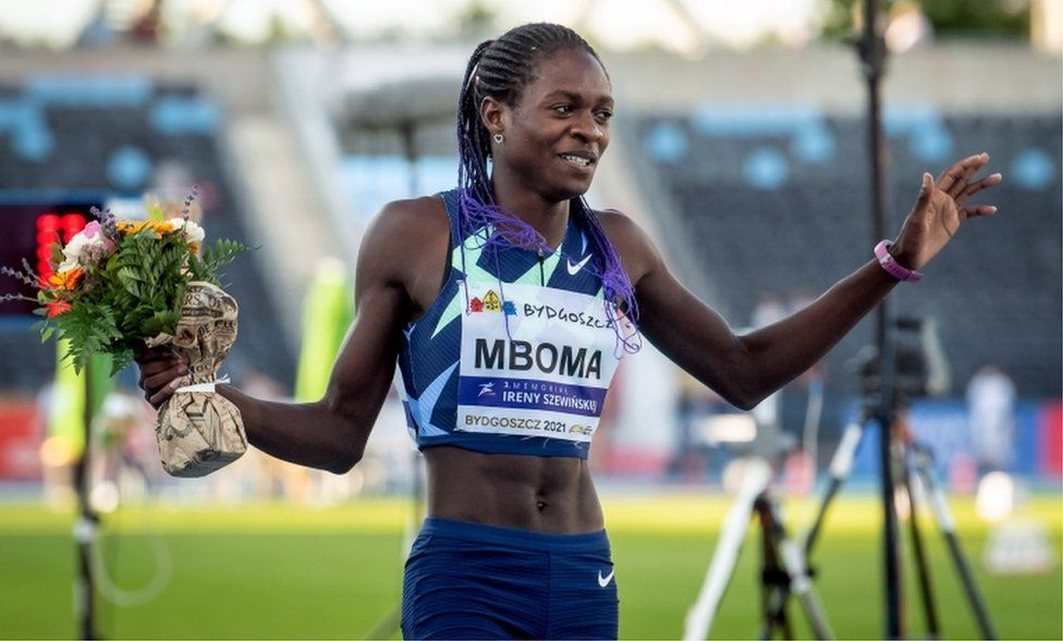 Christine Mboma of Namibia on the track