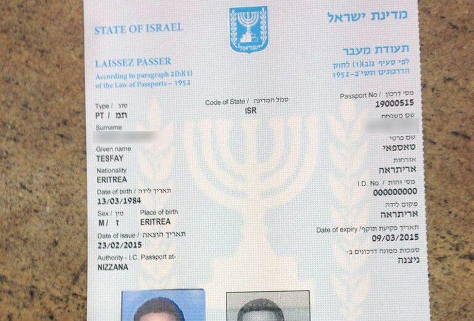 Laissez passer document from Israel