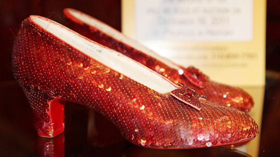 A pair of ruby slippers up for auction in 2011