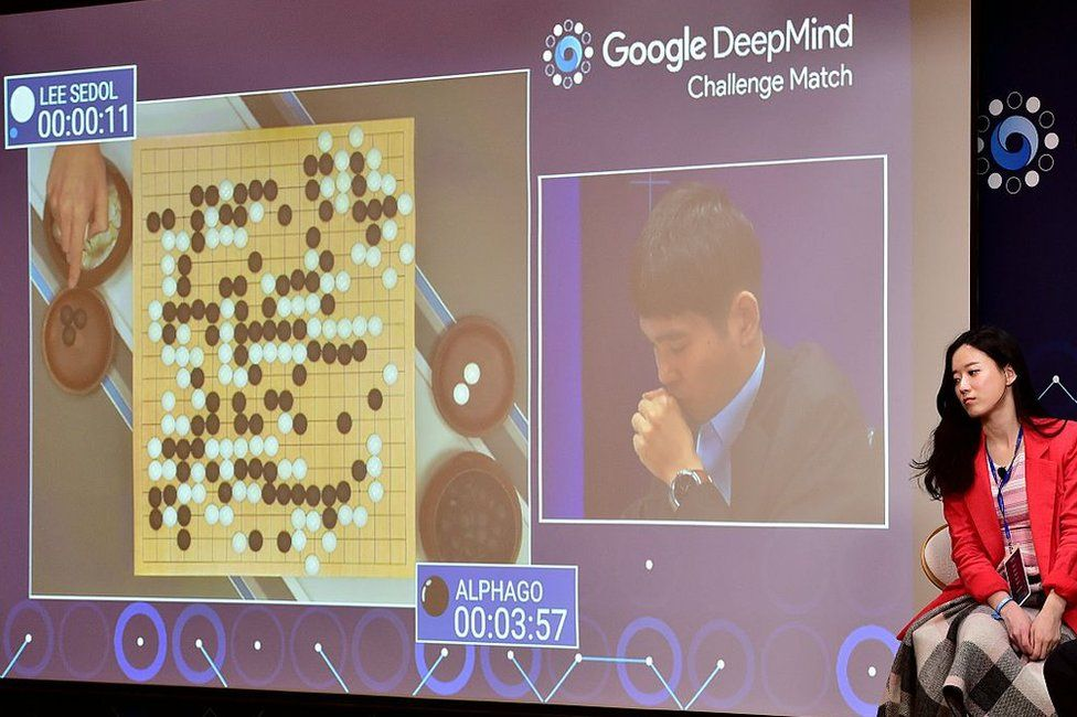 A live feed of South Korean Go grandmaster Lee Se-Dol playing against Google's AlphaGo in Seoul in March 2016