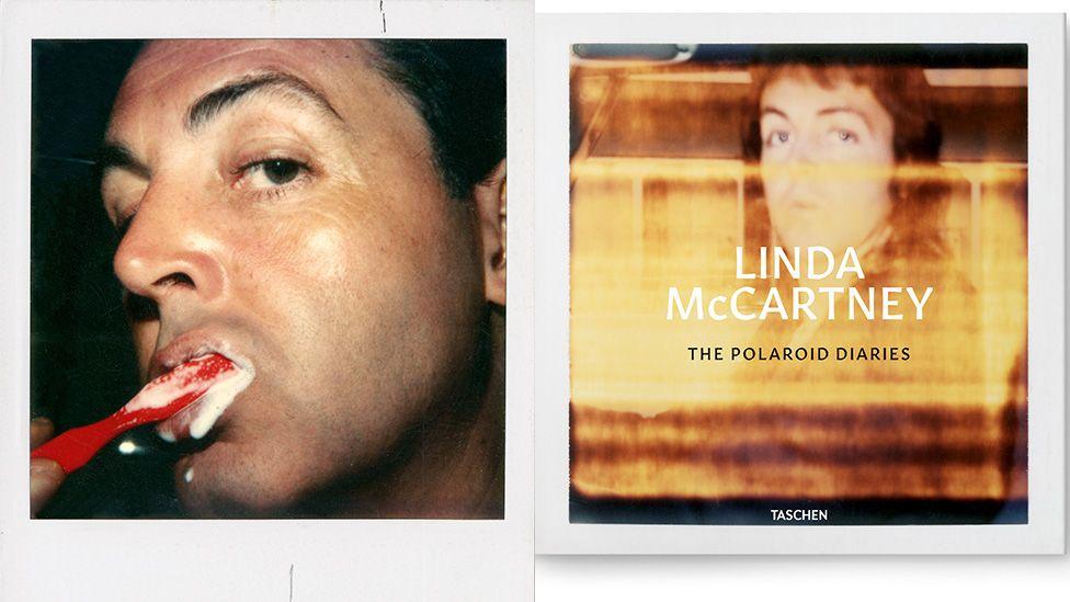 Paul McCartney brushing teeth and cover of polaroid book