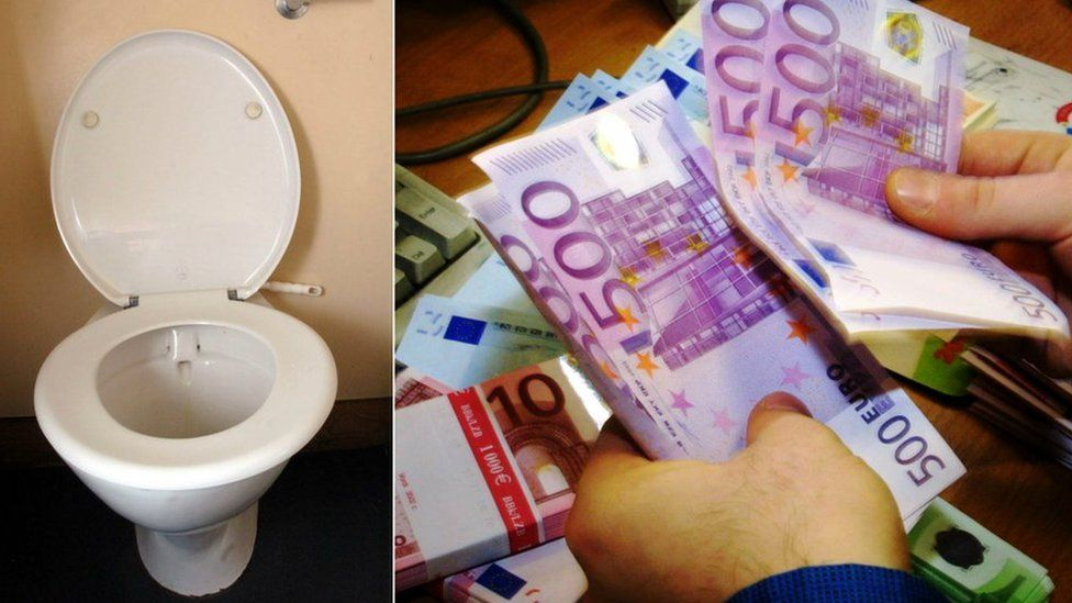 A toilet and then the 500 euro notes on a collage side by side