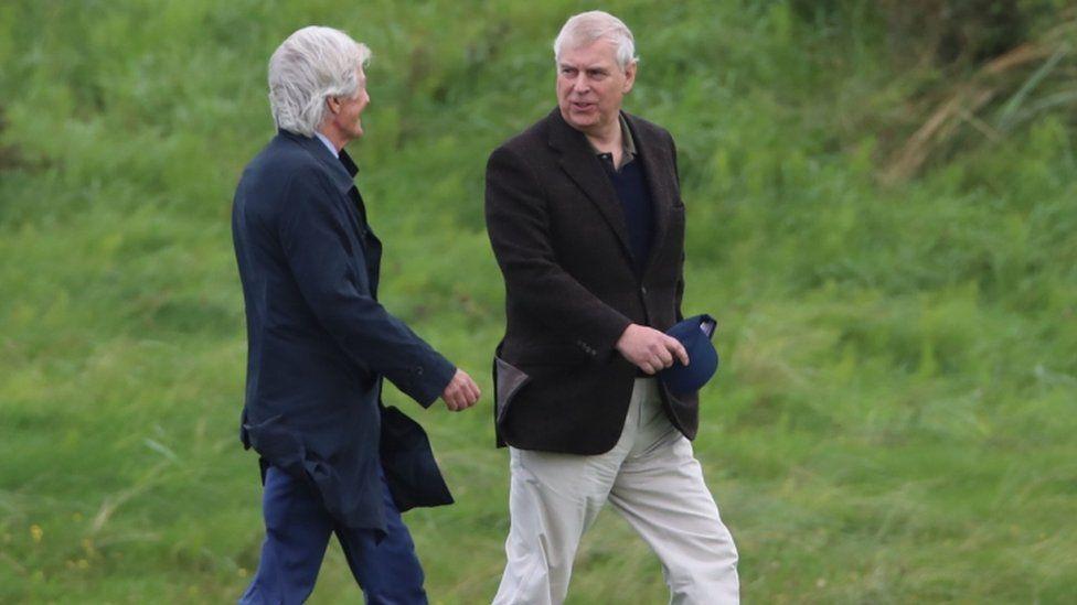 Prince Andrew with Belfast-based libel lawyer Paul Tweed