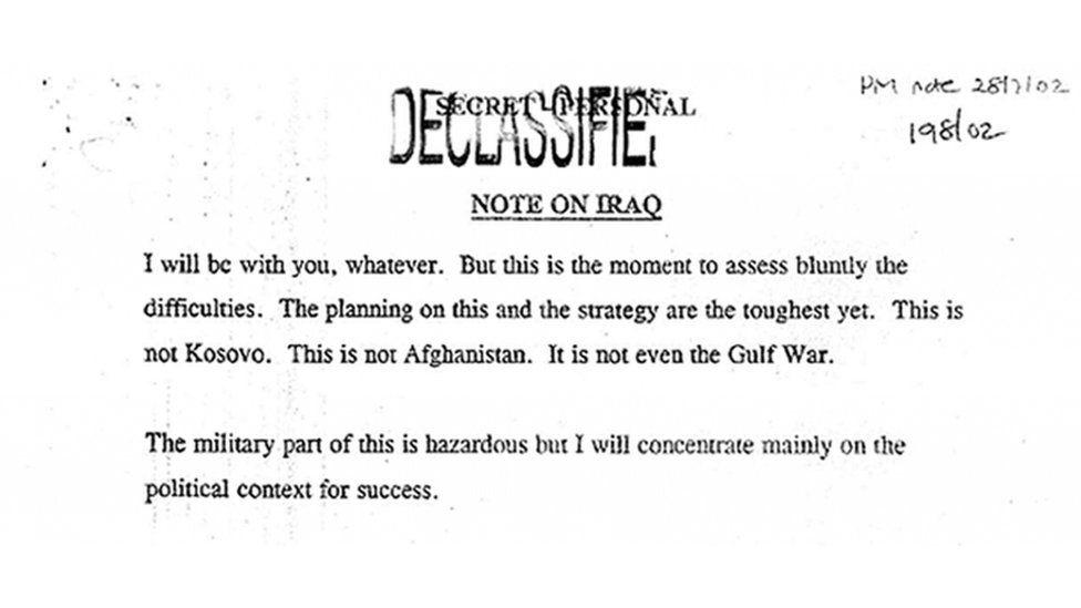 Memo to George Bush from Tony Blair