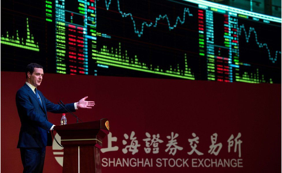 Britain's Chancellor of the Exchequer George Osborne delivers a speech at the Shanghai Stock Exchange in Shanghai on 22 September