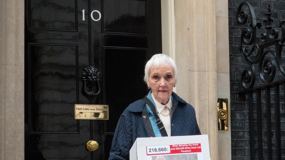 Anne Puckridge outside Downing Street