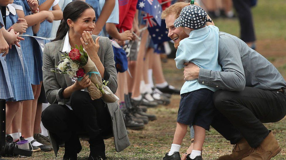 Meghan and Harry at an event during their tour of Australia