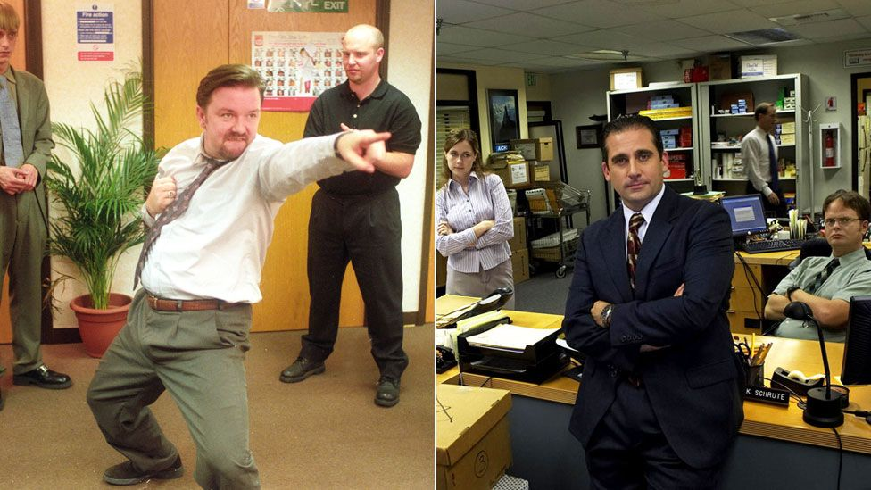 Ricky Gervais and Steve Carell in their respective versions of The Office