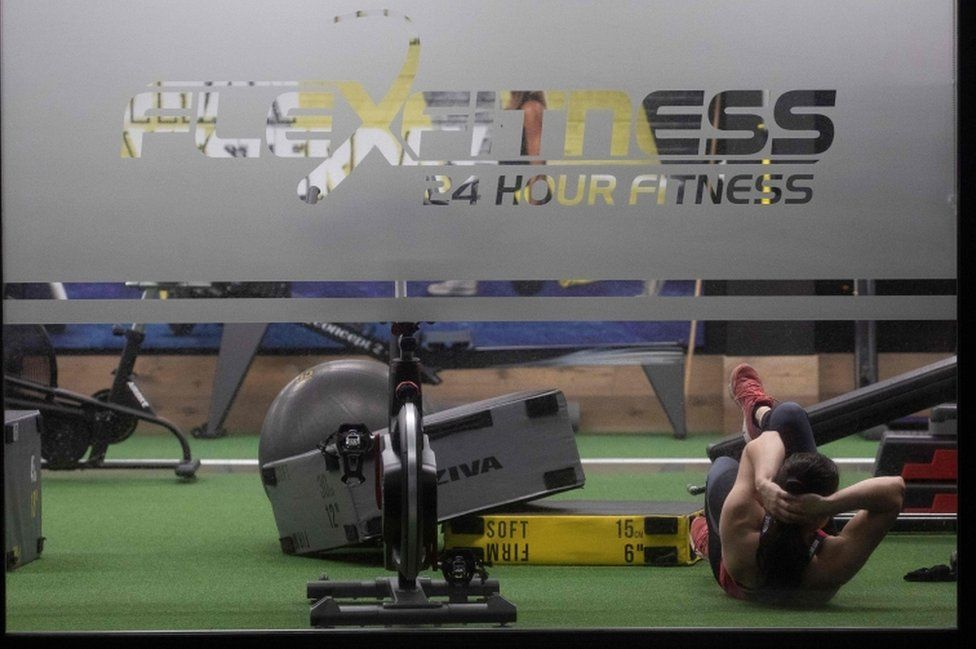 A woman exercises in a gym in Christchurch on 14 May, 2020