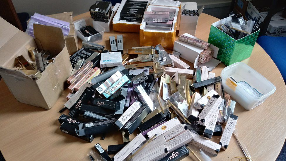 Counterfeit make-up which has been seized