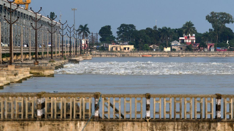 A general view shows Koshi Barrage, a flood control sluice across the Koshi River, Birpur, Sunsari district, some 250 kms from Nepal's capital Kathmandu, on August 16, 2017.