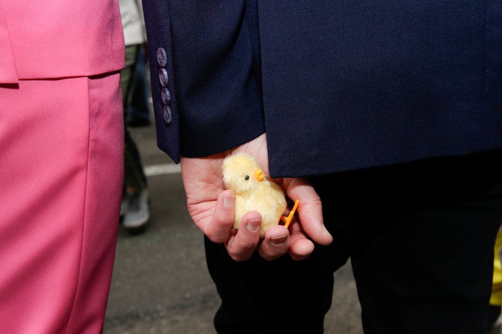 A puppet chick is seen in the hand of a participant.