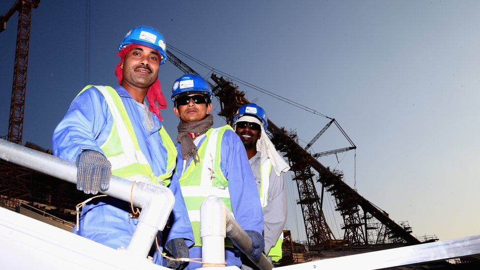 Construction workers in Doha, Qatar
