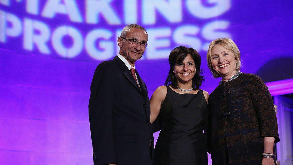 John Podesta, Neera Tanden, and Hillary Clinton