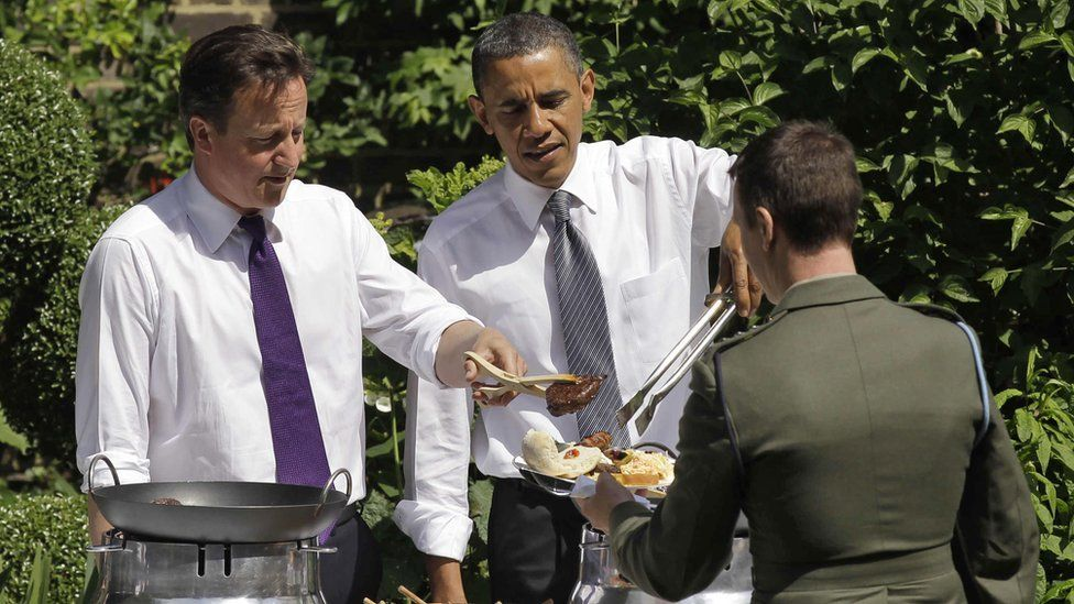 David Cameron and Barack Obama at a barbecue in the garden of No 10 Downing St in 2011