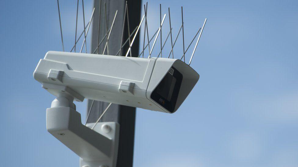 A surveillance camera pictured at Berlin Suedkreuz station