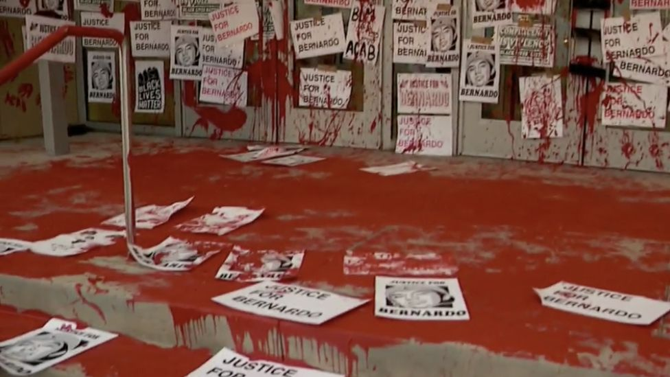 Protesters covered the street and prosecutors steps with red paint in July