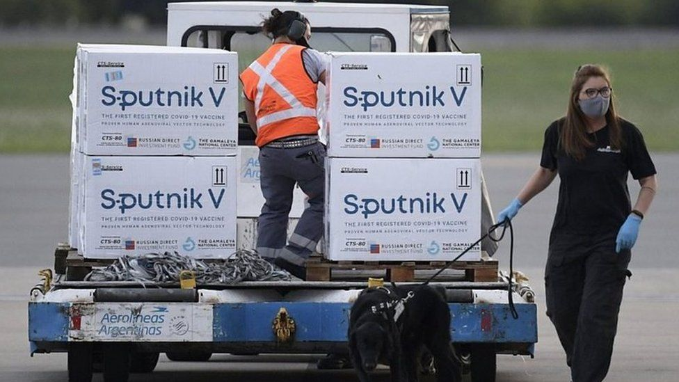 Supplies of Russia's Sputnik V vaccine seen at an airport